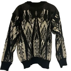 Frontline black grey leather trim holiday sweater